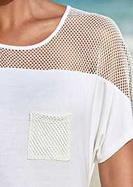 Alternate View Mesh Trimmed Cover-Up Dress