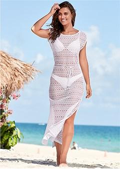 crochet mesh cover-up dress
