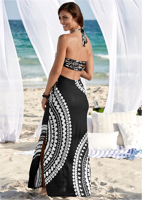Strappy Maxi Dress,String Side Bikini Bottom,Studded Flip Flops