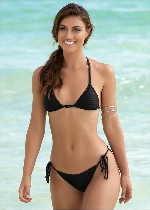 SHINY RIBBED TRIANGLE TOP,STRING SIDE BIKINI BOTTOM,SHINY RIB SCOOP BOTTOM,ASYMMETRICAL BOTTOM,LATTICE SIDE BIKINI BOTTOM