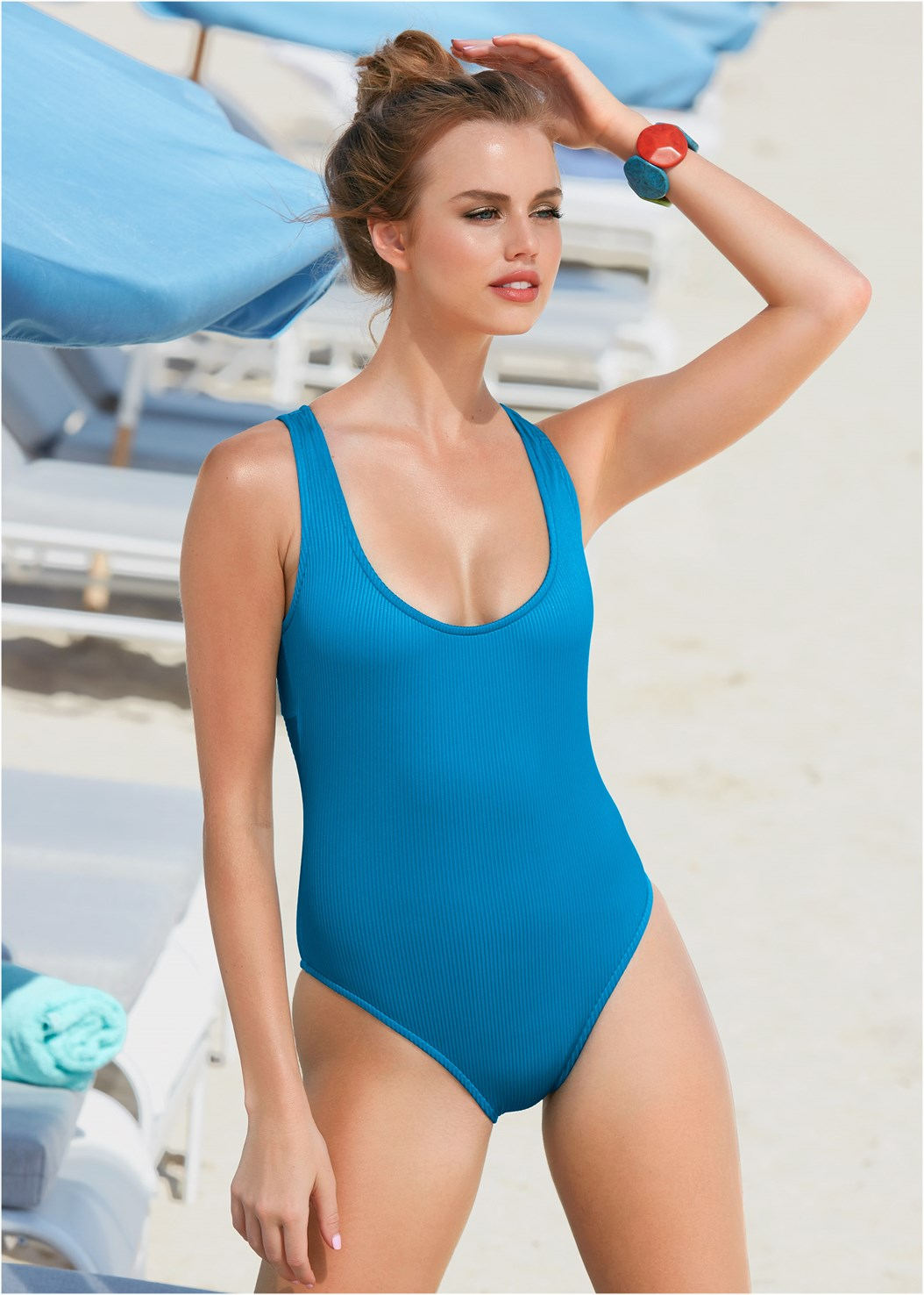 Shiny Rib One-Piece