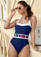 belted one-piece