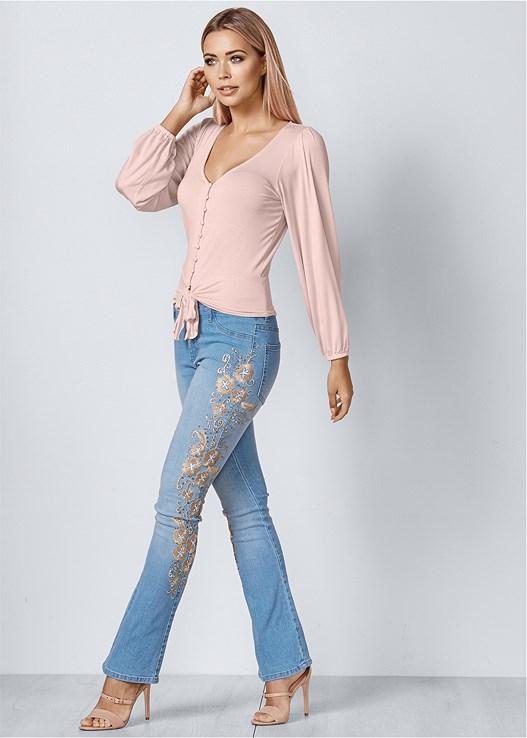 EMBROIDERED BOOT CUT JEANS,TIE FRONT BUTTON UP TOP,NAKED T-SHIRT BRA,BUCKLE DETAIL STRAPPY HEELS