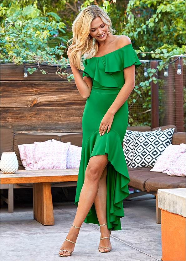 High Low Ruffle Dress,High Heel Strappy Sandals