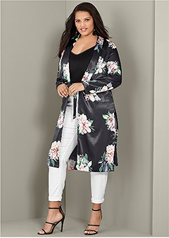 plus size floral long jacket