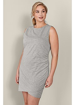 plus size french terry ruched dress