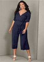 plus size tie detail jumpsuit