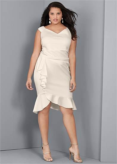 Plus Size Cap Sleeve Ruffle Detail Dress