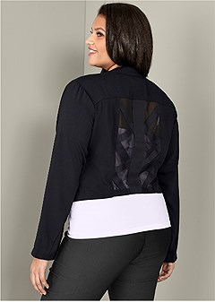 plus size mesh detail jacket