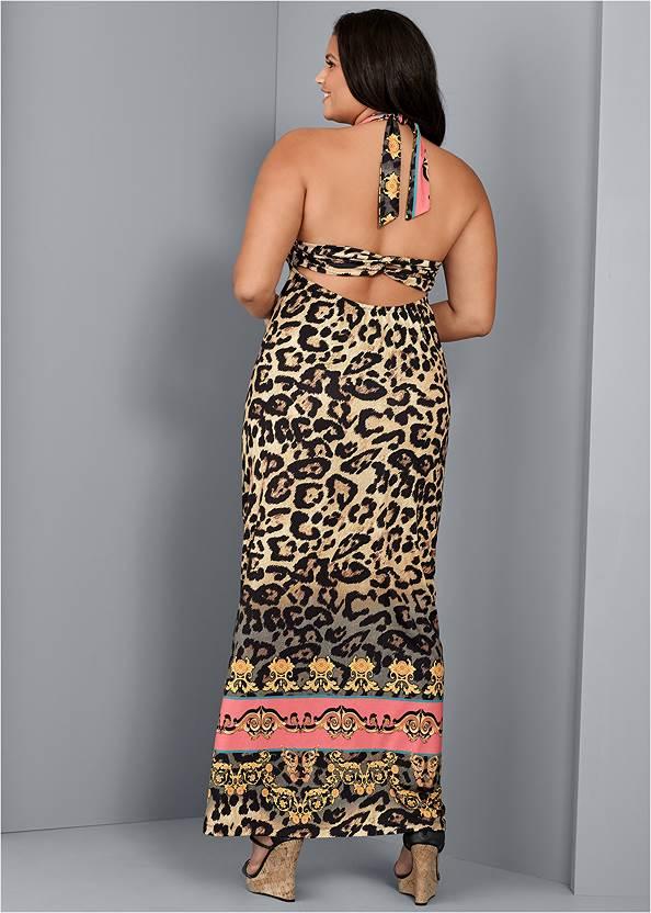 Back View Leopard Print Maxi Dress