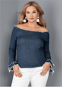 plus size off the shoulder denim top