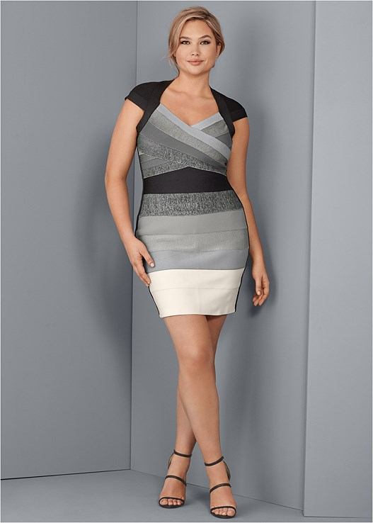 BANDAGE COLOR BLOCK DRESS,HIGH HEEL STRAPPY SANDALS