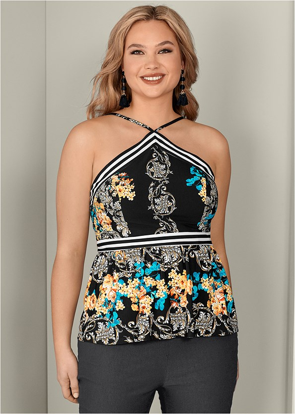 Halter Print Top,Mid Rise Slimming Stretch Jeggings,High Heel Strappy Sandals