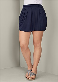 plus size easy pleated mini skirt