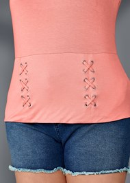 Alternate View Lace Up Detail Top