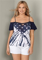 plus size american cold shoulder top