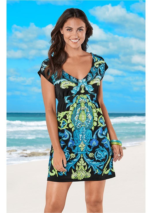 V NECK COVER-UP DRESS,SIDE GROMMET TIE ONE-PIECE,OVERSIZED FLOPPY HAT,TROPICAL TOTE BAG