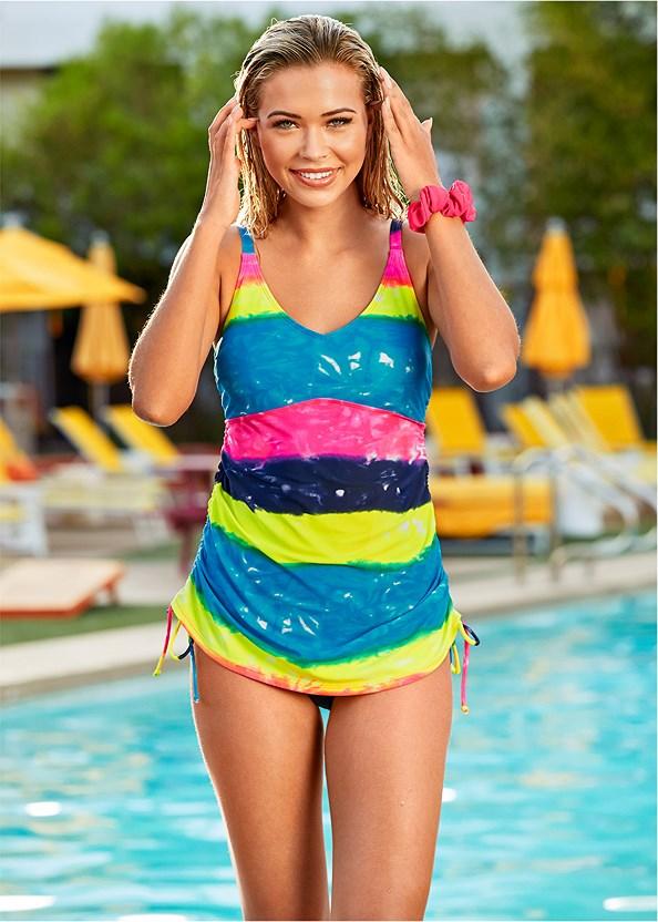 Adjustable Long Tankini Top,Mid Rise Hipster Classic Bikini Bottom,Scoop Front Classic Bikini Bottom ,Swim Short,Fringe Tunic Cover-Up