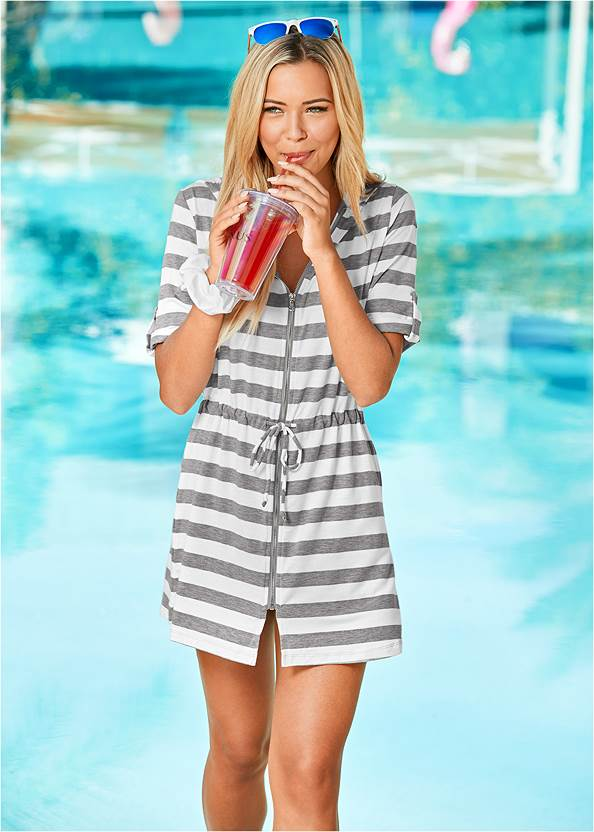 Alternate view Zip Front Hooded Cover-Up Dress