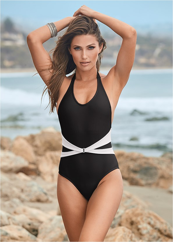 Belted Ring One Piece,Blousant Cover-Up Dress