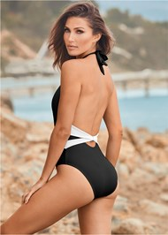 Back View Belted Ring One Piece