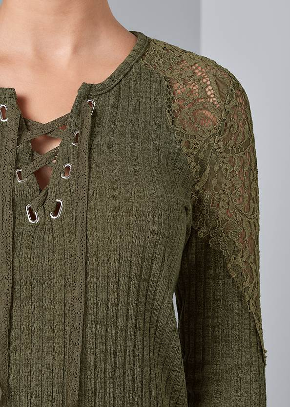 Alternate View Crochet Detail Ribbed Top