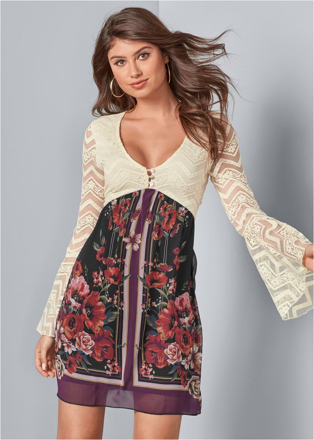 Lace Detail Dress,Push Up Bra Buy 2 For $40,Mixed Earring Set,Fringe Handbag