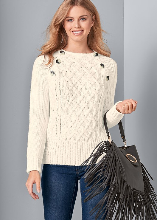 BUTTON DETAIL SWEATER,COLOR SKINNY JEANS,UNLINED GEO LACE BRA,MID RISE BRIEFS,LACE UP TALL BOOTS,FRINGE HANDBAG