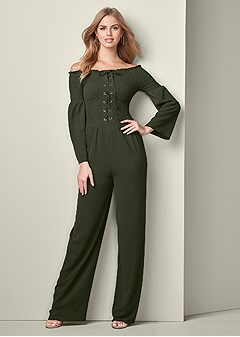 smocked detail jumpsuit