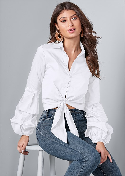 CROPPED TIE FRONT BUTTON UP TOP,CASUAL BOOT CUT JEANS,LACE BACK DETAIL BRA