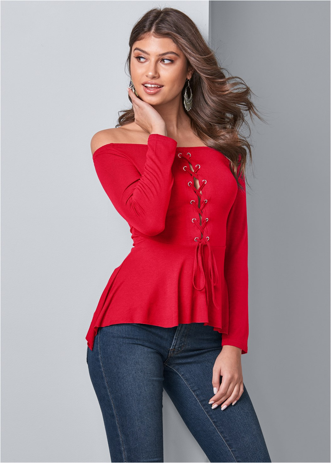 Lace Up Peplum Top,Mid Rise Color Skinny Jeans,Confidence Invisible Bra,Open Heel Booties