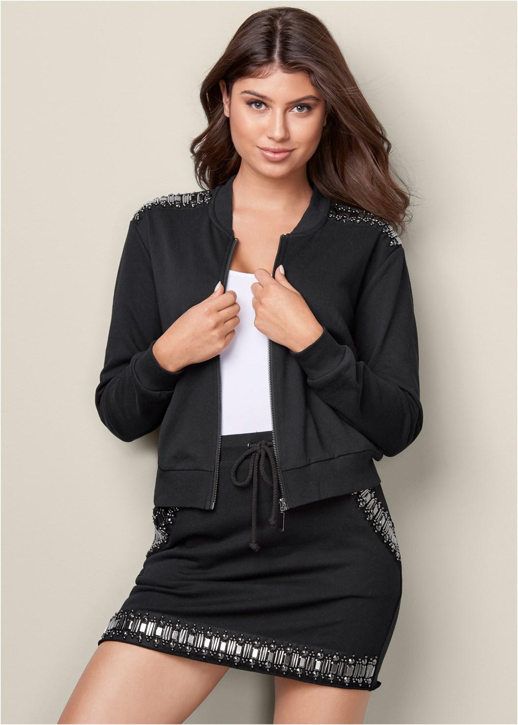 Jeweled Lounge Jacket,Basic Cami Two Pack