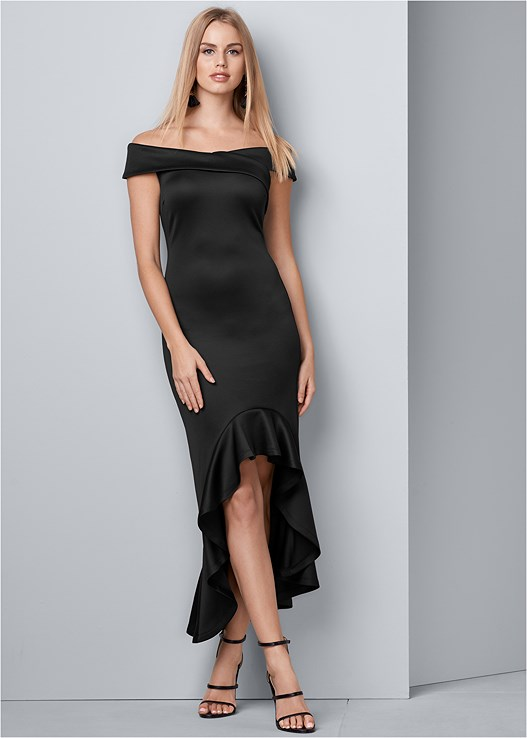 OFF SHOULDER HIGH LOW DRESS,HIGH HEEL STRAPPY SANDALS