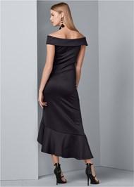 Back View Off Shoulder High Low Dress