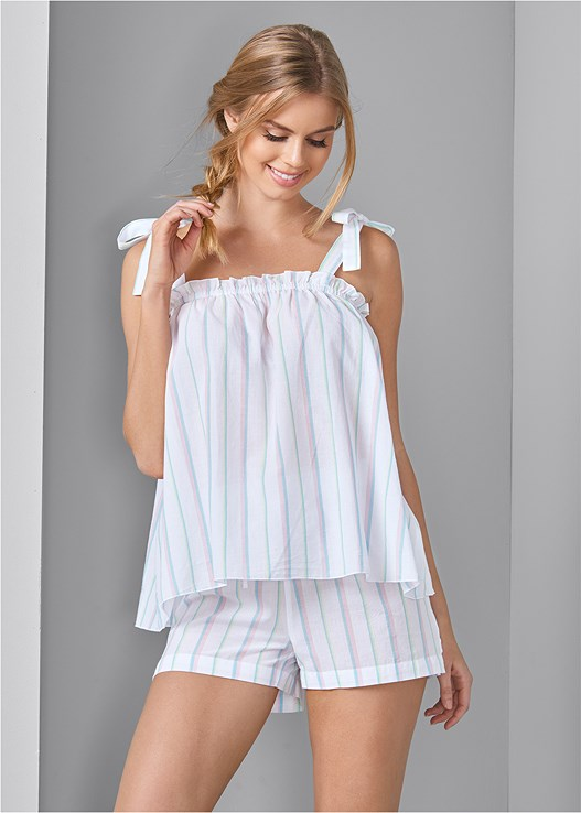 STRIPE SLEEP SHORTS SET