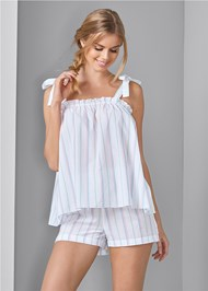 Front View Stripe Sleep Shorts Set