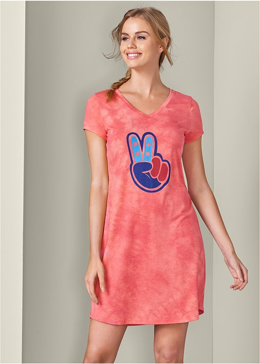 TIE DYE GRAPHIC SLEEP DRESS