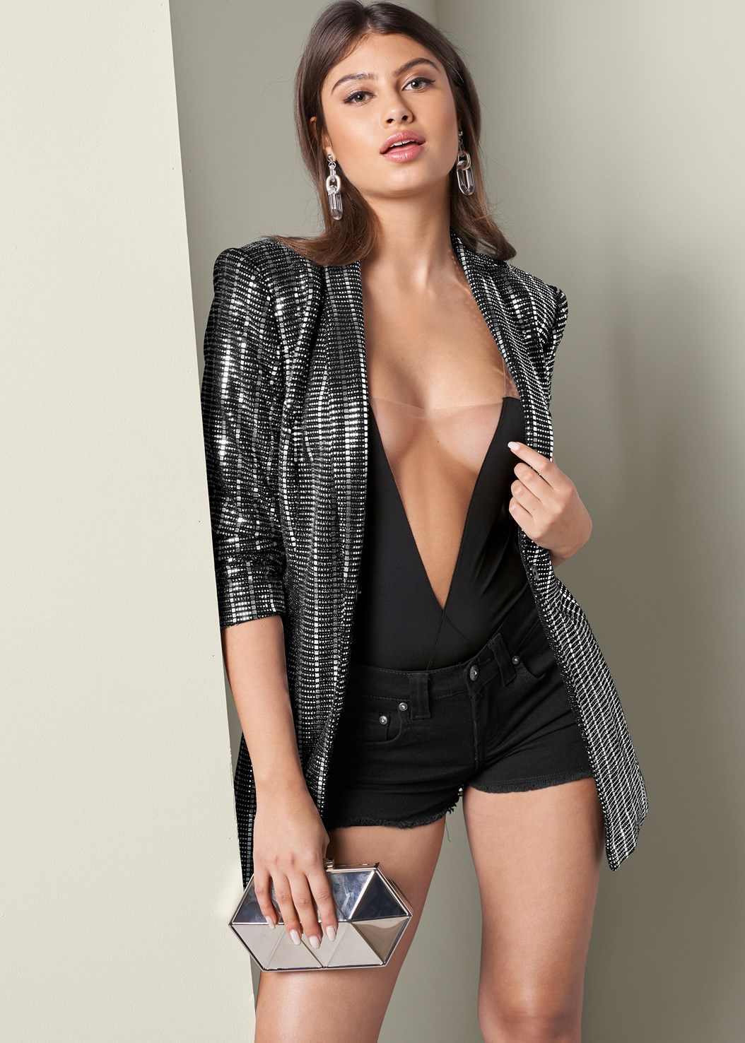 Embellished Jacket,Illusion Mesh Bodysuit,Frayed Cut Off Jean Shorts,High Heel Strappy Sandals