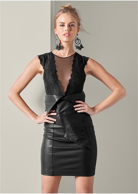 FAUX LEATHER SKIRT,EMBELLISHED DEEP V BODYSUIT,MESH INSET BODYSUIT,STUDDED STRAPPY HEELS,HIGH HEEL STRAPPY SANDALS