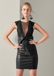 Front View Faux Leather Skirt