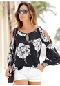 Front View Floral Tiered Sleeve Top