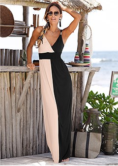 0812f2c3af0 color block maxi dress