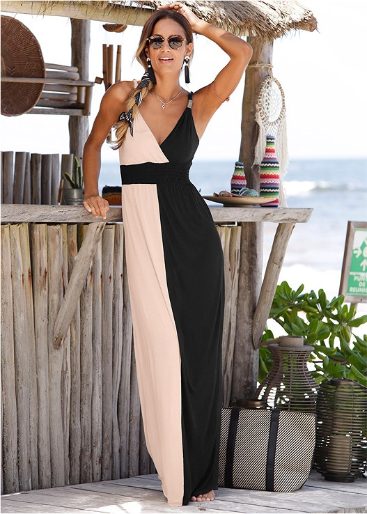 COLOR BLOCK MAXI DRESS,BRAIDED DETAIL WEDGES,RAFFIA STATEMENT EARRINGS
