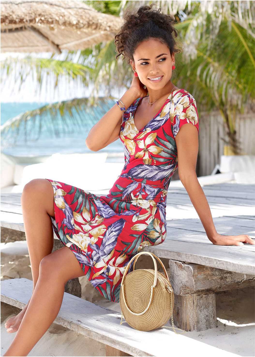 Floral A-Line Midi Dress,Lace Up Gladiator Sandals,Ring Handle Straw Tote