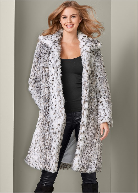 FAUX FUR COAT,SEAMLESS CAMI,FAUX LEATHER PANTS,SLOUCHY LAYERED STRAP BOOTS