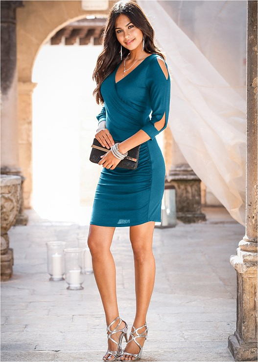 7c227354bea CUT OUT DETAIL DRESS in Dark Teal