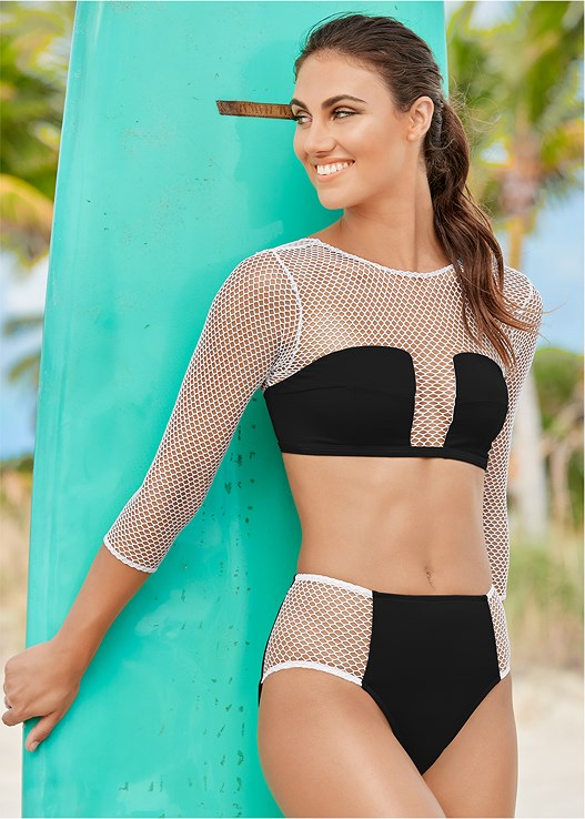 MESH BIKINI BOTTOM,MESH SLEEVED CROP TOP