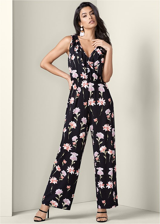 FLORAL JUMPSUIT,HIGH HEEL STRAPPY SANDALS,FRINGE DROP EARRINGS