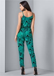 Back View Palm Leaf Printed Jumpsuit