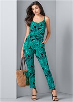 palm leaf printed jumpsuit